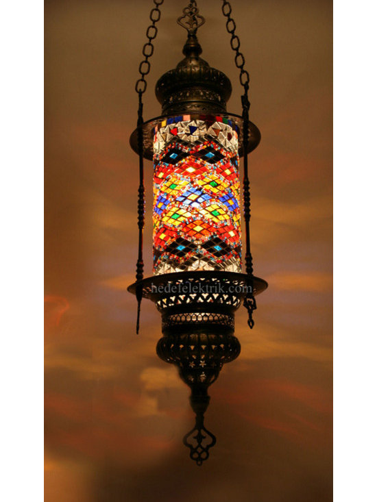 Ottoman Style Authentic Mosaic Pendant Lamp - Mosaic lamps are made of original colour of glasses. When the lamp is lit, the glasses cause colorful shades, which can suddenly change the ambiance of a room by its inspiring view. Noe of the glasses are painted nor applied a transaction. Each parts of the lamp are handmade.