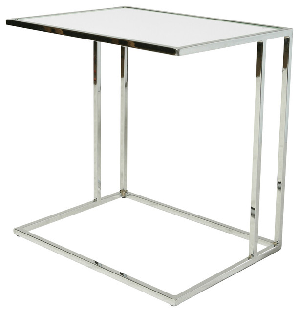 Pastel Norway End Table Chrome Base White Glass Top