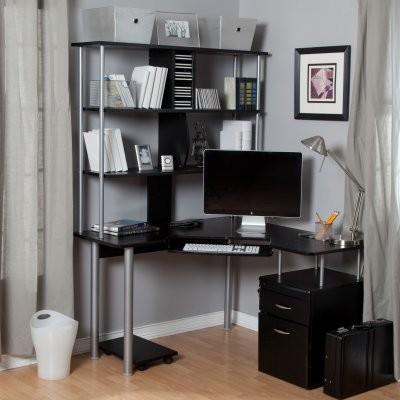 Toppline Corner Computer Desk with Bookcase and File System - Black ...
