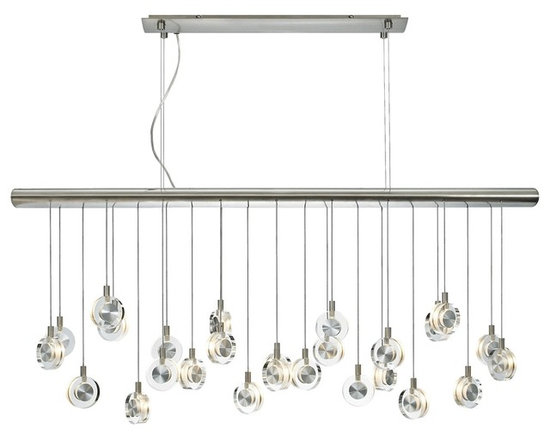 "LBL Lighting - LBL Bling Crystal Discs 41 1/4"" Wide Chandelier - The Bling multi pendant light fixture has twenty-six discs of transparent clear crystal with sandblasted interior gracefully suspended at varying heights from a satin nickel finish canopy. Low voltage bright xenon light bulbs glow from within each disc for a brilliant display. From LBL Lighting. Satin nickel finish. Transparent clear crystal. Includes twenty-six 10 watt low voltage G4 base xenon bulbs. Includes four 75 watt electronic transformers. 41 1/4"" wide. 17 1/4"" high. Adjustable 25"" to 76"" maximum overall height. Canopy is 21"" wide and 1 1/2"" high.  Multi pendant light fixture by LBL.  Transparent clear crystal.   Satin nickel finish.   Use this large chandelier in a foyer or dining room.  Includes twenty-six 10 watt low voltage G4 base xenon bulbs.   Includes four 75 watt electronic transformers.   41 1/4"" wide.   17 1/4"" high.  Adjustable 25"" to 76"" maximum overall height.   Canopy is 21"" wide and 1 1/2"" high."