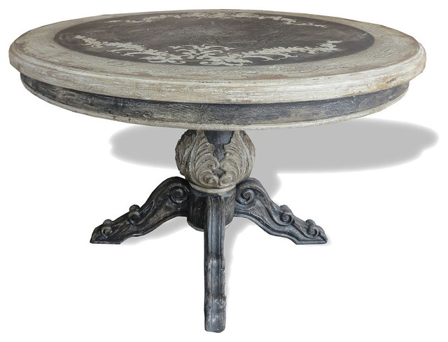Old World French Round Table Napoleon Distressed Grey  : traditional dining tables from www.houzz.com size 640 x 488 jpeg 61kB