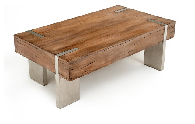 Modern rustic block coffee table transitional coffee for Couchtisch holz modern