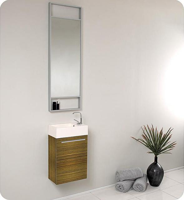 Fresca Pulito Zebra Stainless Steel Tall Mirror Bathroom Vanity Contemporary Bathroom Sinks