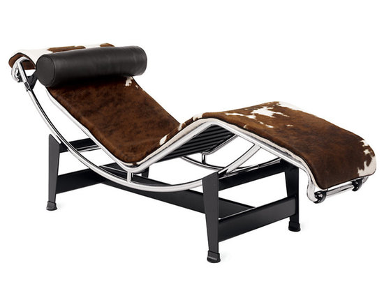 """Cassina - LC4 Chaise Longue, Cowhide - Designed in 1928, the LC4 Chaise Longue (or """"long chair"""" in English) was dubbed the """"relaxing machine"""" because of the way it mirrors the body's natural curves while appearing to float above its supports. An infinite number of sitting angles are achievable with the LC4, as the moveable frame adjusts along the base, from upright to full recline. The LC4 is included in the permanent collection of the Museum of Modern Art. Each piece is signed and numbered and, as a product of Cassina's Masters Collection, is manufactured by Cassina under exclusive worldwide license from the Le Corbusier Foundation. Made in Italy. Cowhide and all leather colors come with black leather headrest. Natural canvas available with black, amber or chocolate leather headrest and footer."""