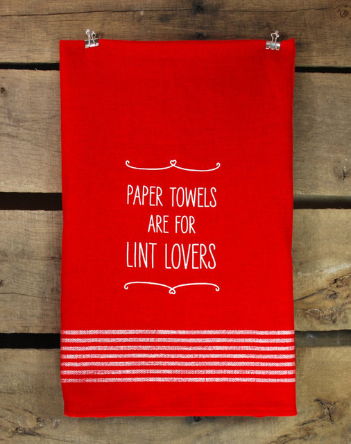 Paper Towels Are For Lint Lovers, Red Flour Sack Towel by B.Haven modern-dish-towels
