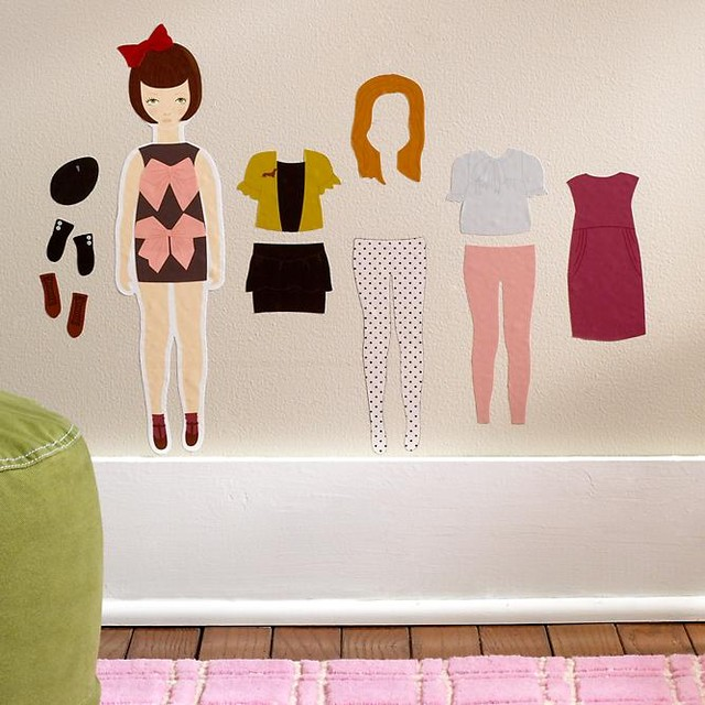 Kids Doll Dress Up Wall Decals modern kids decor