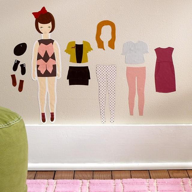 Kids Doll Dress Up Wall Decals modern-kids-wall-decor