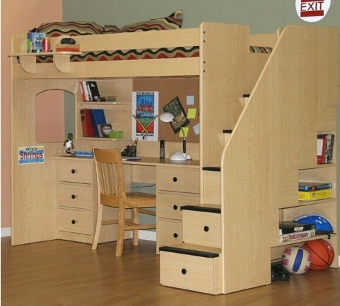 Utica Twin Dorm Loft Bed with Desk and Storage Modern