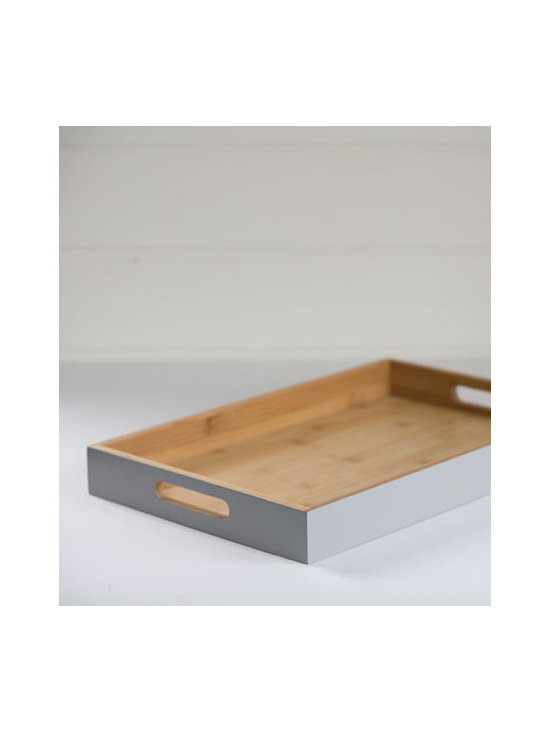 Bamboo Tray With Gray Lacquer Exterior -