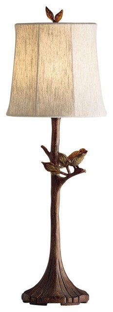 Asian Kichler Indoor-Outdoor Bird on a Branch Table Lamp traditional-table-lamps