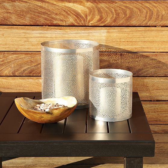 Perforated metal hurricanes modern candleholders by - Punched metal candle holder ...