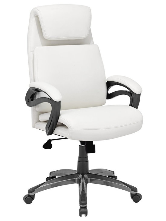 "Zuo - Zuo Lider Relax White Office Chair - Faux leather office chair in white. This chair has a leatherette wrapped seat and back cushions with chrome solid steel arms with leatherette pads. There is a height and tilt adjustment with a chrome steel rolling base. Epoxy finish solid steel arms with leatherette pads. Height and tilt adjustment. Epoxy finish steel rolling base. A chic addition to your home from Zuo Modern. 27 1/2"" wide. 27 1/2"" deep. Height adjusts from 44"" - 47 3/4"". Seat is 18"" square. Seat height adjusts from 19 3/4"" - 23"". Arm height adjusts from 26 3/4"" - 30"". Some assembly required.  Faux leather office chair in white.  This chair has a leatherette wrapped seat and back cushions with chrome solid steel arms with leatherette pads. There is a height and tilt adjustment with a chrome steel rolling base.  Epoxy finish solid steel arms with leatherette pads.  Height and tilt adjustment.  Epoxy finish steel rolling base.  A chic addition to your home from Zuo Modern.  27 1/2"" wide.  27 1/2"" deep.  Height adjusts from 44"" - 47 3/4"".  Seat is 18"" square.  Seat height adjusts from 19 3/4"" - 23"".  Arm height adjusts from 26 3/4"" - 30"".  Some assembly required."