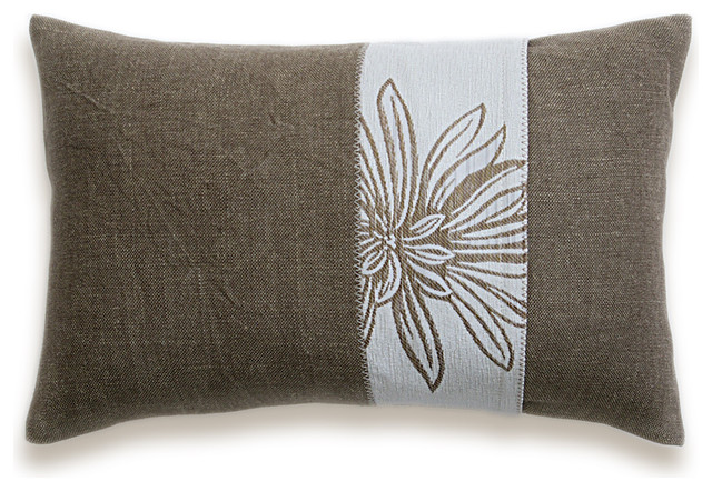 Brown Cream Lumbar Decorative Throw Pillow Case 12 x 18 in LORA DESIGN
