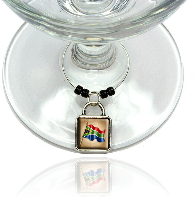 Vintage South African Flag South Africa Wine Glass Silver