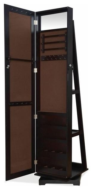 Jazi Espresso Finish Wood Rectangular Shaped Swivel Free Standing Cheval Mirror - Contemporary ...