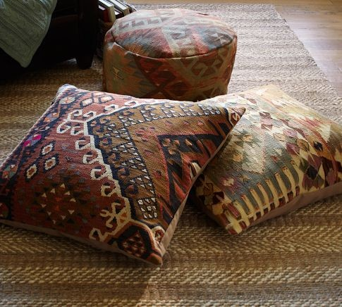 PB Found Kilim Floor Seating Covers, Muted - Eclectic - Decorative Pillows - by Pottery Barn