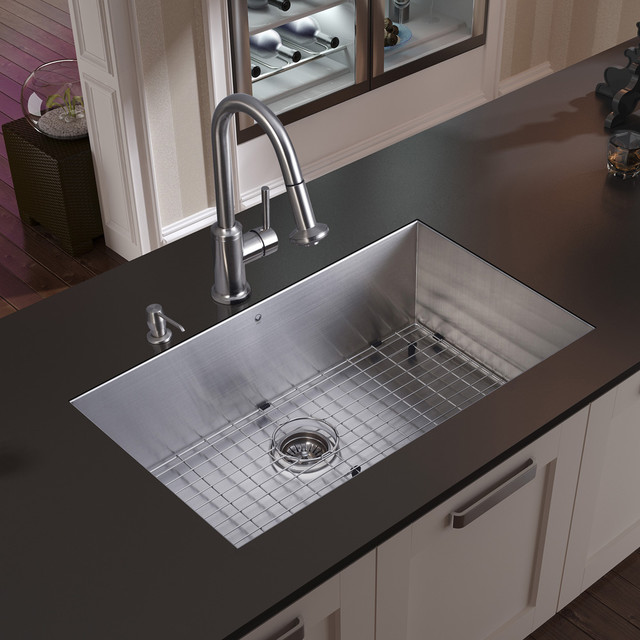 Vigo undermount stainless steel kitchen sink faucet grid for Best kitchen sinks and faucets