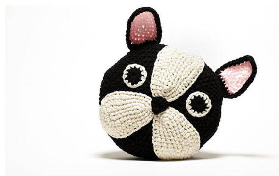 Crochet French Bulldog/Boston Terrier by Peanut Butter Dynamite eclectic pillows