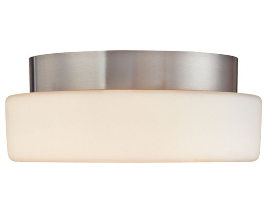 """Sonneman - Sonneman Pan 10 1/2"""" Surface Ceiling Light Fixture - Soothing white is framed with a touch of metallic highlighting in this Sonneman design. Try this at home or at your office. Satin nickel finish. White opal frosted glass. Takes two 60 watt medium base bulbs (not included). 4 1/2"""" high. 10 1/2"""" diameter. Shade is 2 1/2"""" high 10 1/2"""" diameter. Canopy has 8"""" diameter.  Satin nickel finish.  White opal frosted glass.  Takes two 60 watt medium base bulbs (not included).  4 1/2"""" high.  10 1/2"""" diameter.  Canopy has 8"""" diameter."""