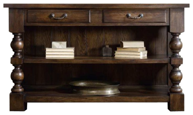 Hooker Furniture Two Drawer Console Table in Walnut transitional-console-tables