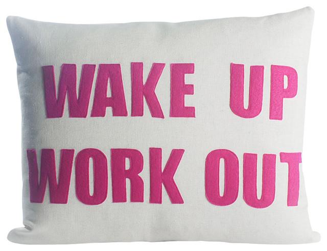 Wake Up Work Out,  Cream Canvas/Fuchsia contemporary-decorative-pillows