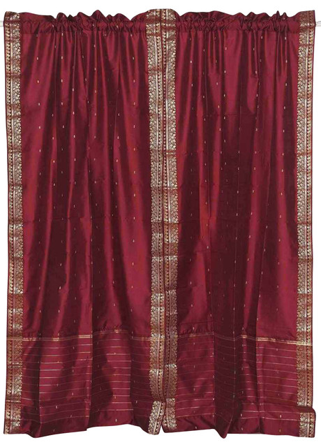 Pair of Maroon Rod Pocket Sheer Sari Cafe Curtains, 43 X 36 In. eclectic-curtains