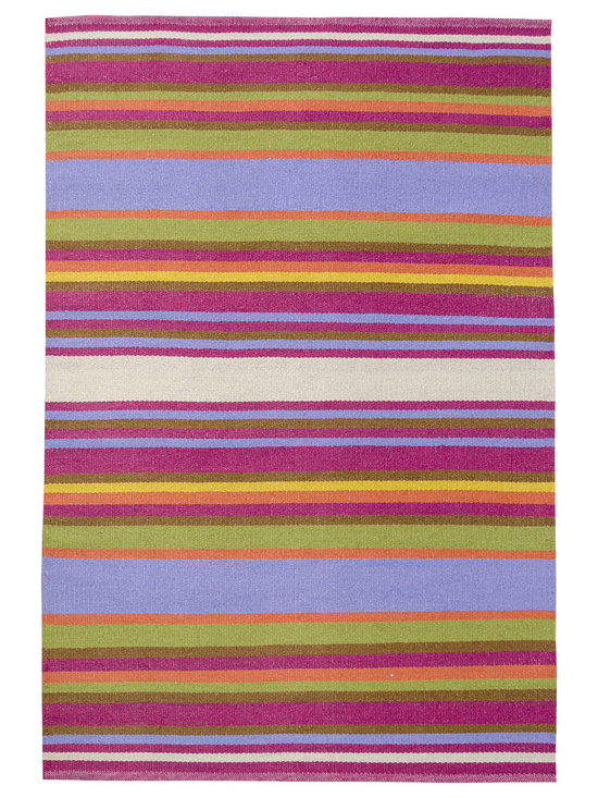 KOKO - Folk Area Rug - 4' x 6' - Multi-color Stripe - With its sophisticated colors and striking good looks, you'd never suspect this area rug washes clean with a garden hose! Hand-loomed from a blend of vinyl and polyester and fully reversible, it's perfect for the patio, porch or family room — anywhere you need a touch of elegance without the upkeep.