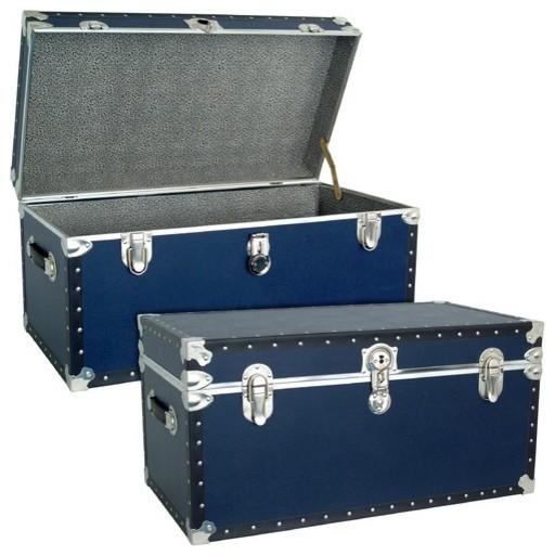 Classic Blue Trunk with Black Binding modern-dressers