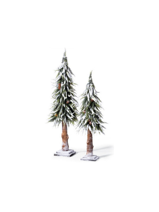 Grandin Road - Set of Two Whitey Trees - Each tree is secured to a sturdy wooden base. They'll collect compliments for years. Impressive height variation. Nice and thin—an easy addition to a bountiful buffet. Our lifelike Snowy Trees bring nature right to your table, buffet, or mantelscape. They're remarkably realistic, from the majestically down-sweeping branches to the snowy flocking, pinecones, and real-looking trunks.  . They'll collect compliments for years .  .  .