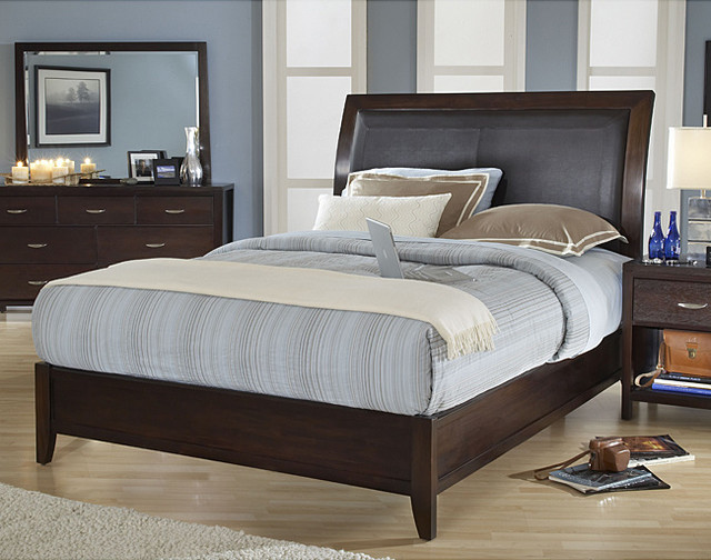 king size wood sleigh bed contemporary bedroom furniture sets by