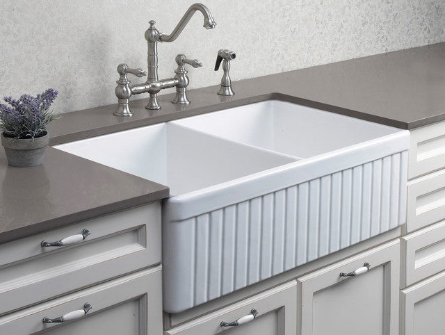 Farmhouse Double Bowl Sink : Fluted Double Bowl Fireclay Farmhouse Kitchen Sink - Kitchen Sinks ...