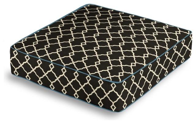 Black Classic Trellis Box Floor Pillow contemporary-decorative-pillows