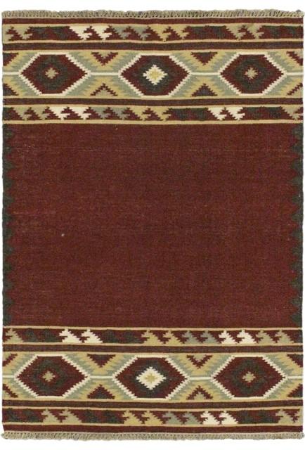 "Flat-weave Izmir Kilim Dark Red Wool Kilim 3'11"" x 5'11"" contemporary-rugs"