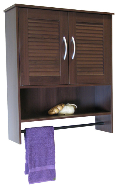 4D Concepts Bathroom 2 Louvered Doors Wall Cabinet in Espresso - Contemporary - Storage Cabinets ...