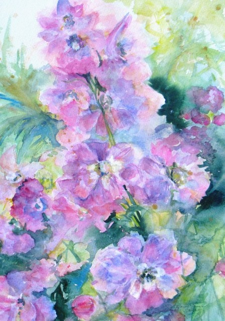 Delphinium Abstract by Janice Trane Jones traditional artwork
