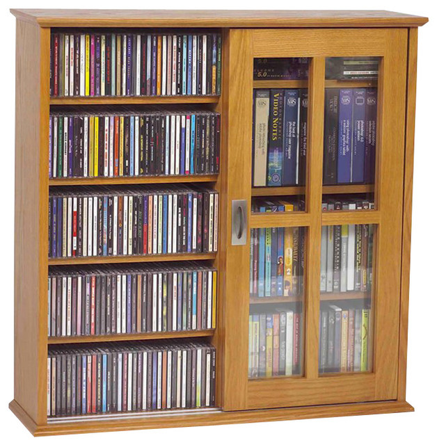 ... Sliding Door CD/DVD Cabinet - Traditional - Media Cabinets - by Cymax