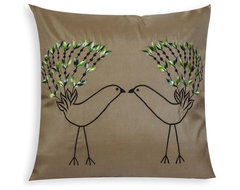 Embroidered Love Birds Pillow Cover eclectic-pillows
