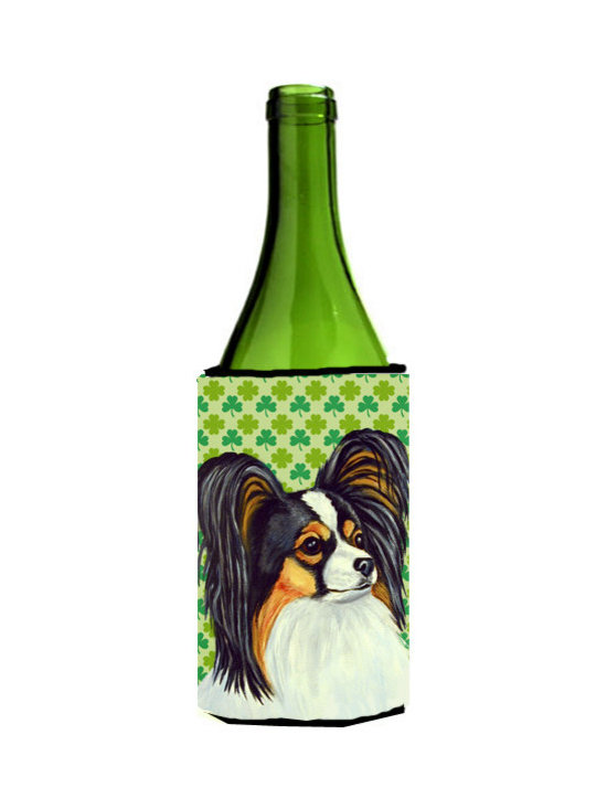 Caroline's Treasures - Papillon St. Patrick's Day Shamrock Portrait Wine Bottle Koozie Hugger - Papillon St. Patrick's Day Shamrock Portrait Wine Bottle Koozie Hugger Fits 750 ml. wine or other beverage bottles. Fits 24 oz. cans or pint bottles. Great collapsible koozie for large cans of beer, Energy Drinks or large Iced Tea beverages. Great to keep track of your beverage and add a bit of flair to a gathering. Wash the hugger in your washing machine. Design will not come off.