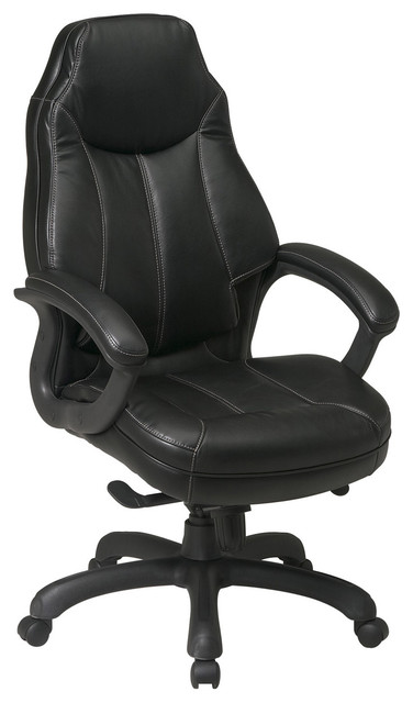 Deluxe Black  High Back Leather Office Chair traditional-office-chairs