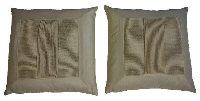 Decorative Pillows Retail : Ivory Pillows with Pleat Detail - Pair - $225 Est. Retail - $145 on Chairish.com