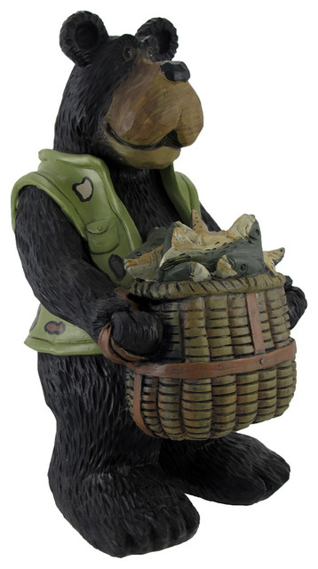 Funny `What A Catch!` Fisherman Bear Nature Statue Fishing traditional ...