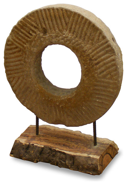 Hand Carved Stone Coin on Stand asian-home-decor