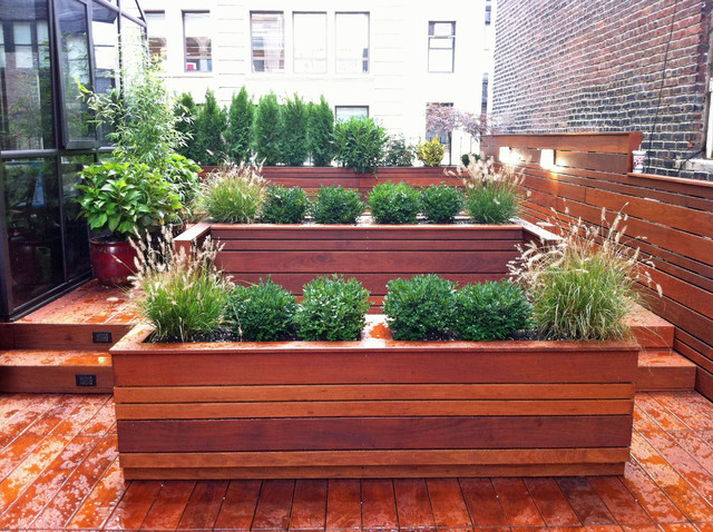NYC Roof Garden: Terrace Deck, Wood Planter Boxes, Fence, Container Garden, Ipe - Contemporary ...