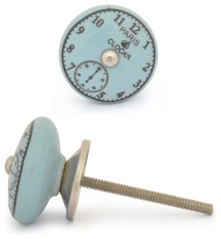 Ceramic Knob, Black Clock with Turquoise - Eclectic - Cabinet And Drawer Knobs - by Knobco