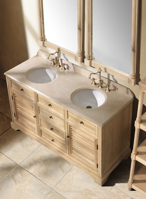 "59.25"" Antique Dreams Double Bath Vanity - Natural Oak traditional-bathroom-vanities-and-sink-consoles"