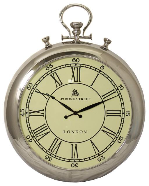 """49 Bond Street Classic 31"""" Polished Nickel Metal Wall Clock wall-clocks"""
