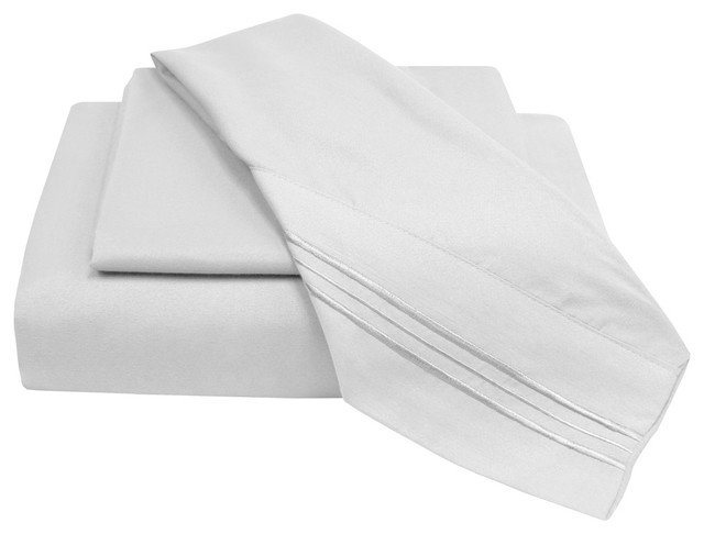 Giovanni Egyptian Comfort Sheets 6PC Set, White, Queen contemporary-sheets