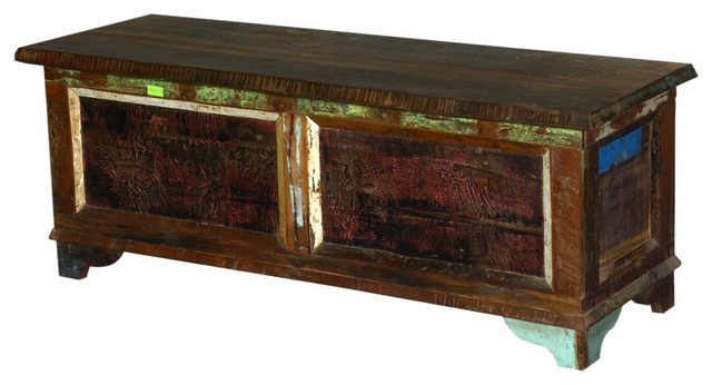 Whitney Reclaimed Wood Distressed Coffee Table Blanket