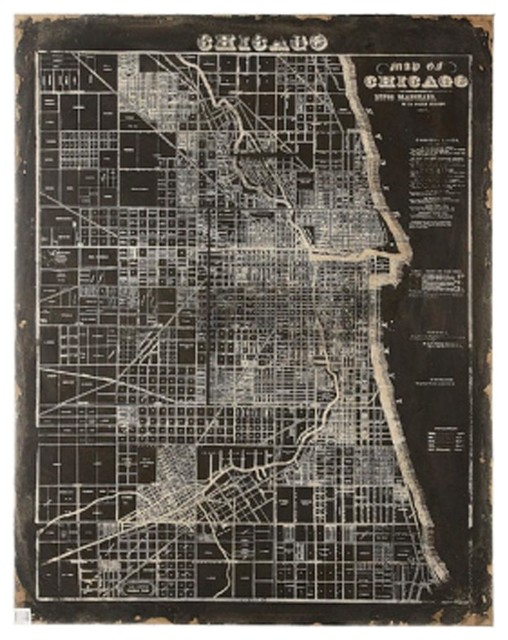 Vintage Style Chicago Map Wall Art  Artwork  By Shades