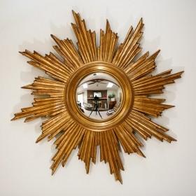 Belgian Gilt Wood Sunburst Convex Mirror traditional-wall-mirrors